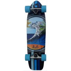 Mini Cruiser Skateboard Maple Blue Wave Surf